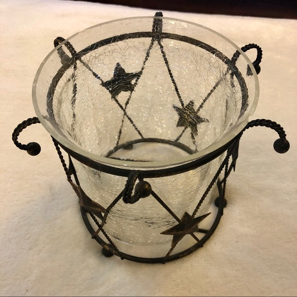 Metal & Glass Star Candle Holder